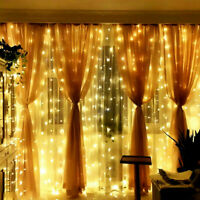 Solar Power 300 LED Window Curtain String Ligh Twinkle 8 Modes Fairy Lights Home