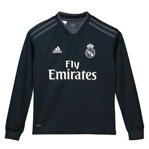 Official Real Madrid Football Away Shirt Jersey Tee Top 2018 19 Long Sleeve Kids