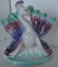Vintage Pottery Peacock Bird Planter Vase