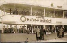 HAMBURG 1937 Echtfoto-AK Personen auf Hafen Rundfahrt Schiff Real-Photo Postcard