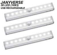 JANYVERSE 3 Pack Superpower USB Rechargeable 10 LED Magnetic Motion Sensor 120LM