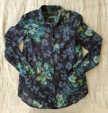 THE KOOPLES COTTON/SILK Blue Rose Floral Button Down Shirt, Size XS Near New