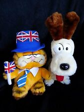"Vintage Dakin Garfield the Cat ""Union Jack"" w/tag & Odie the Dog Plush~1981 1983"