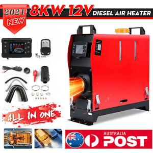 8KW 12V Portable Air Diesel Heater Tank LCD Silencer Caravan Motorhome Remote AU