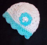 Sale--Handmade Crochet Baby Girl Hat White & Turquoise Newborn 0-3 Months