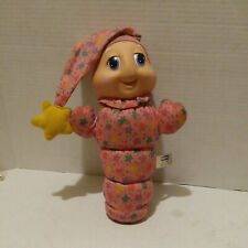 Vintage 1988 Playskool Gloworm Pink Stars Plush Glow Worm Toy. Not tested as is