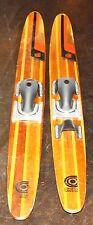 "Vintage Cypress Gardens Aqua Pro Wooden Water Ski Set-67.5"" Slalom Pair-Nice!"