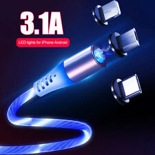 IG_ Magnetic LED Light Flowing Glow Micro USB Type Charger Cable for Cell Phone