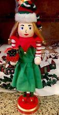 "Elf Nutcracker Peppermint Jester Girl Pretty Woman Nutcracker Xmas Santa Elf 15"""