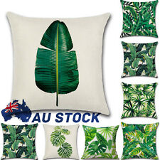 "Tropical Banana Green Leaves Linen Cushion Cover Sofa Throw Pillow Case 18"" AU"