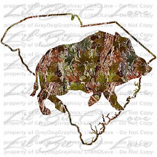 Camo Hog Boar South Carolina  State Outline Hunter Vinyl Decal Sticker Hunting