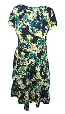 M&Co UK 14 Navy Blue, Yellow and Green Floral Print Flared Midi Dress