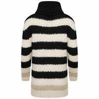 Ex River Island Womens Wool Knit Blend Roll Neck Sweater Jumper Black White