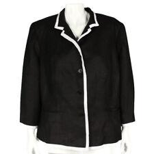 RALPH LAUREN 100% Linen Black White Trim Button Front Blazer Jacket Plus 16W