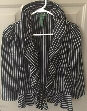 RALPH LAUREN Silk/Cotton Black & White Pinstriped Ruffles Jacket- Size 12