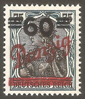 DR Danzig Rare WW1 Stamp 1920 Danzig Overprint on Germania Classic Stamp Single