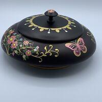 Tole Hand Painted Stenciled Wooden Dresser Vanity Lidded Floral Jar Dish