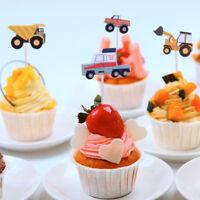 24X Cartoon Car Cupcake Toppers Picks Christmas Cake Topper Birthday Party Decor