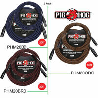 2 PACK PIG HOG PHM20ORG/ BBL/ BRD/ BKW High Performance Woven XLR Mic Cable 20Ft