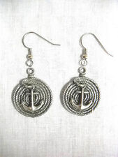 Spiral Boat Anchor Pewter Dangling Earrings New Nautical Sailboat Or Yacht Rope