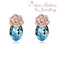 18K Rose Gold Plated Made With Swarovski Crystal Teardrop Rose Stud Earrings