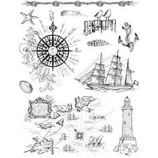Transparent Silicone Stamps 18cm x 14cm Re-usable Nautical Boats Seaside Designs