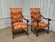 2201076 : Pair Of Antique French Renaissance Carved High Back Arm Chairs