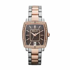 Relic by Fossil Monteclare Rectangular Brown Dial Crystal Watch ZR34175 NIB $110
