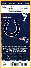 TOM BRADY! 11/16/14 PATRIOTS/COLTS FOOTBALL FULL TICKET