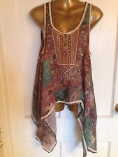 Sundance Hippie Beads Boho Ladies Top Size M Retro Fashion Long Sides Sequins