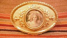 Lovely Antique french gilt bronze jewelry box with miniature painting woman lady