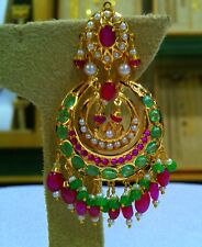 22K YELLOW GOLD HANDMADE DESIGNER JADAU RUBY EMERALD STONE EARRINGS DANGLING