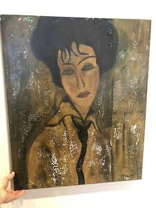 Old Italian Oil Painting 20th Century Preparatory Sketch? Amedeo Modigliani