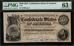 T-64 / PF-2 $500 1864 Confederate Currency CSA - Graded PMG 63 EPQ