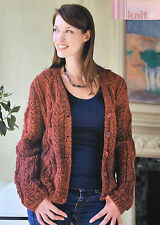 KNITTING PATTERN Ladies Cable Patterned Cardigan Long Sleeve Sirdar PATTERN