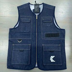 New Karl Kani Dark Wash Blue Denim Utility Vest Retro 90's Men's