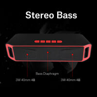 Bluetooth Speaker Stereo Dual Subwoofer USB AUX FM Radio With Mic Hands-Free ZZ