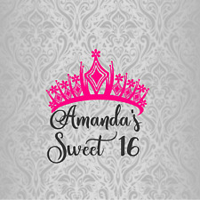 20 Favor Bag Tags 2X2 Sweet 16 Quinceanera Crown Birthday Thanks Personalized