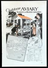 """Outdoor Aviary 1934 Design How-To build PLANS 42"""" x 42"""" Wooden"""