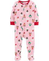 NEW Carter's Girls 1 Piece Fleece PJs NWT 2 3 4 6 7 8 10 12 Pink Holiday Santa