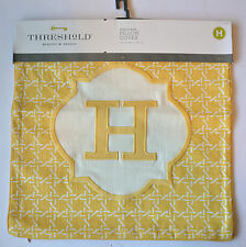 "Threshold Monogram Pillow Cover ""H"" 18"" x 18"" Yellow - NEW"