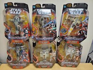 Lot of 6 Star Wars Transformers Palpatine Luke Grievous Boba Fett Jango Fett