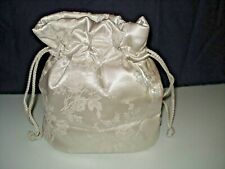 SMALL SILVER BROCADE FLORAL EMBOSSED DRAWSTRING LINED POUCH EVENING BAG EUC
