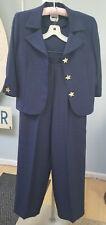 Leslie Fay Women's 2 Piece Navy Blue Textured Pantsuit w/ Buttons Size 8~Vintage