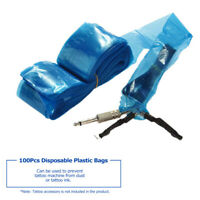 Pro Disposable Blue Tattoo Machine Clip Cord Sleeves Cover Bags Supply 100 Pcs