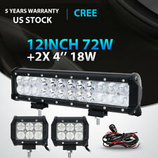 "12inch 72W+4"" 18W LED Light Bar Work SPOT FLOOD CREE 4WD CAR ATV+ Wiring Kit 14"