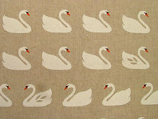 """""""Swans"""" On Natural Linen Look Fabric - Curtain Upholstery Quilting Crafts Blinds"""