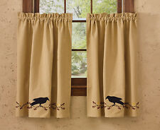 WINDOW CURTAIN LINED TIERS - PRIMITIVE CROW BY PARK DESIGNS - TAN BLACK RED