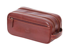 Mens Brown LEATHER Wash Bag Toiletry Shaving Kit Cosmetic TOP Quality Travel Bag