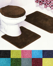 florence 3 piece bathroom rug and toilet seat cover set - Bathroom Rug Sets